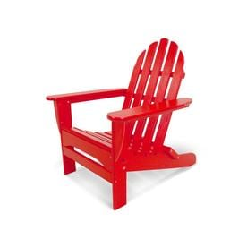 POLYWOOD Classic Folding Patio Adirondack Chair - Red