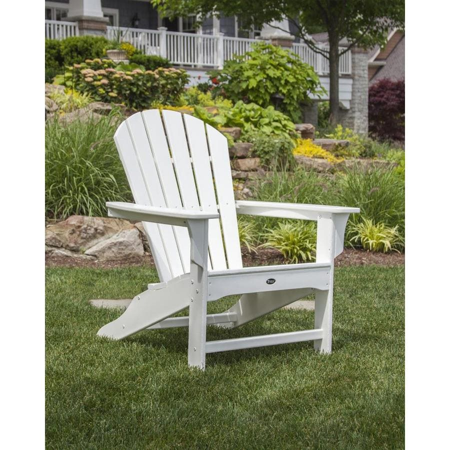 trex outdoor furniture cape cod 1count classic white plastic patio adirondack chair