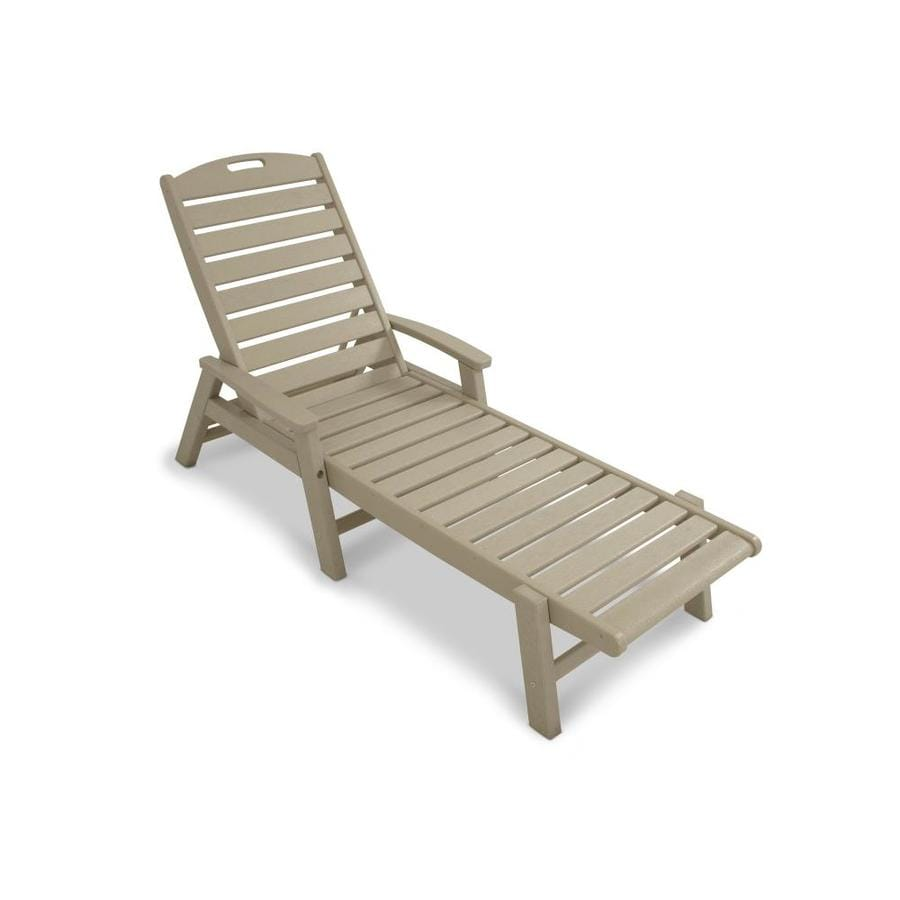 Shop trex outdoor furniture yacht club sand castle plastic patio chaise lounge chair at Plastic outdoor furniture