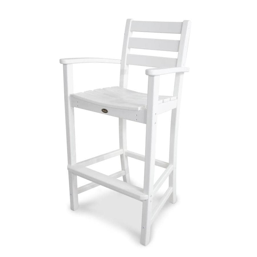 Trex Outdoor Furniture Monterey Bay Classic White Plastic Patio Bar Stool Chair