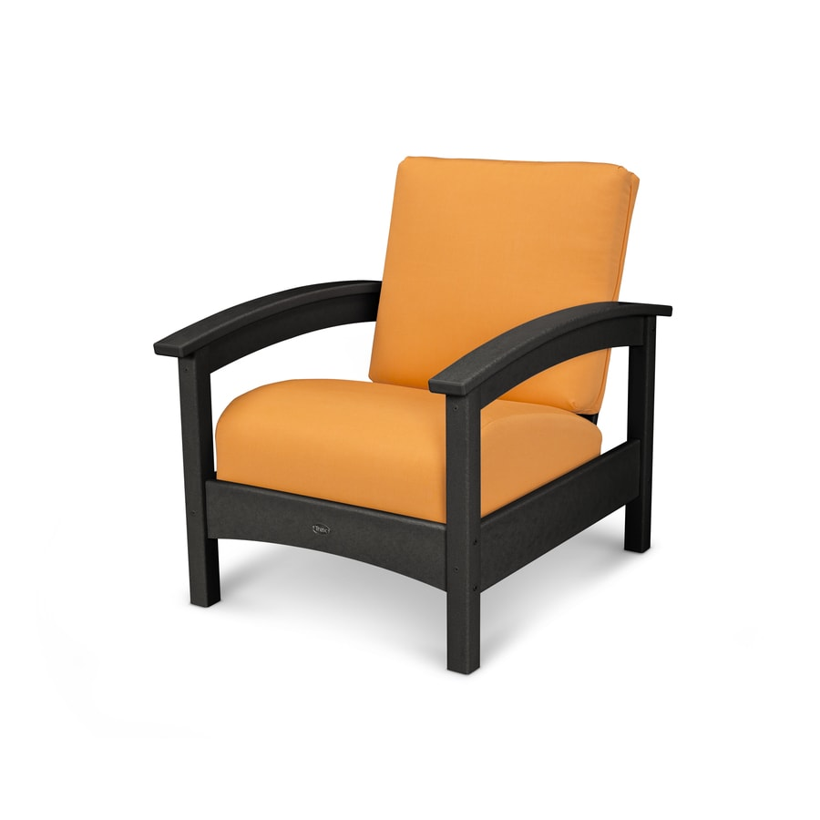 Trex Outdoor Furniture Rockport Charcoal Black/Tangerine Plastic Patio Conversation Chair