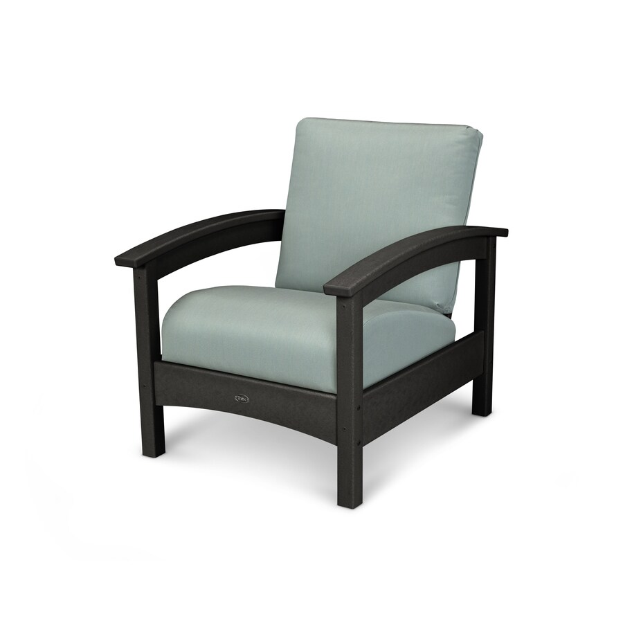 Trex Outdoor Furniture Rockport Charcoal Black / Spa Plastic Patio Conversation Chair