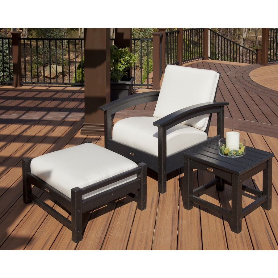 Trex Outdoor Furniture Rockport Hdpe Conversation Chair With Charcoal Black Bird S Eye Sunbrella Cushions