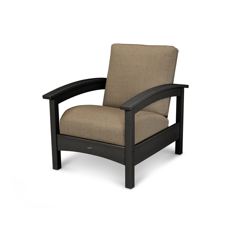 Trex Outdoor Furniture Rockport Charcoal Black/Sesame Plastic Patio Conversation Chair