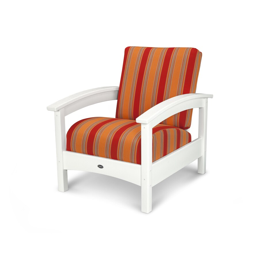 Trex Outdoor Furniture Rockport Classic White / Bravada Salsa Plastic Patio Conversation Chair