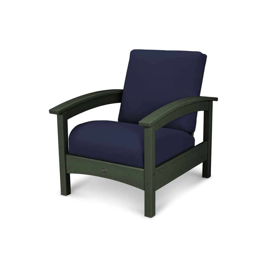 Trex Outdoor Furniture Rockport Rainforest Canopy/Navy Plastic Patio Conversation Chair