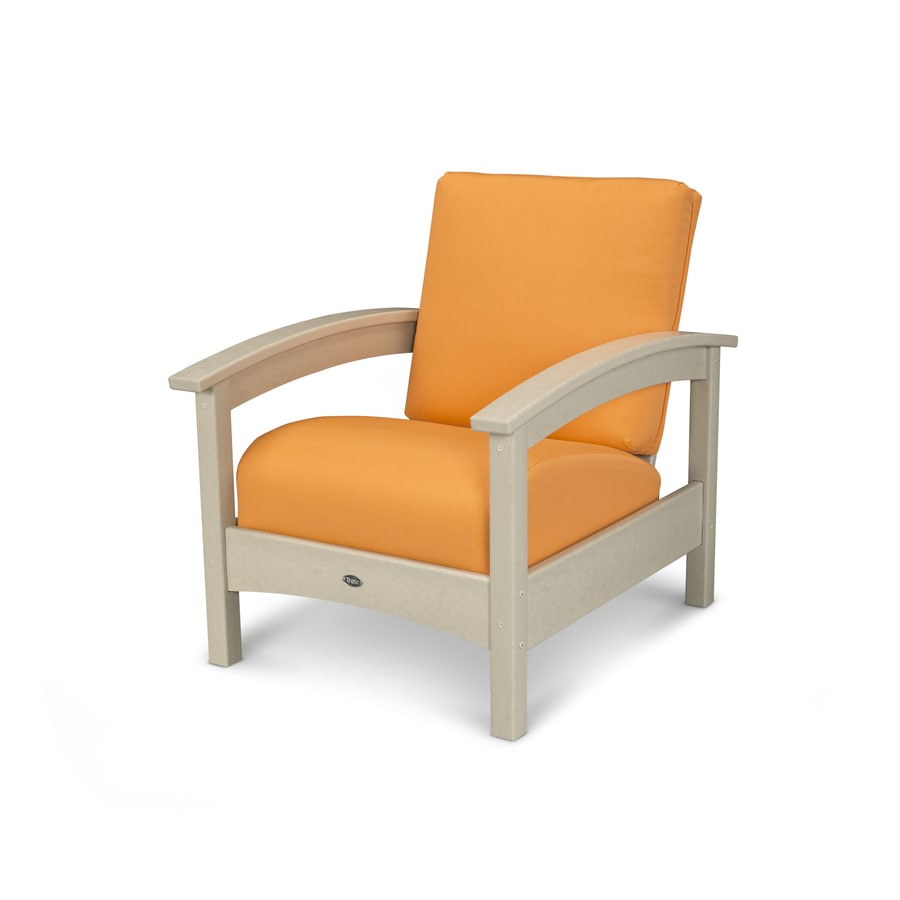 Trex Outdoor Furniture Rockport Sand Castle/Tangerine Plastic Patio Conversation Chair