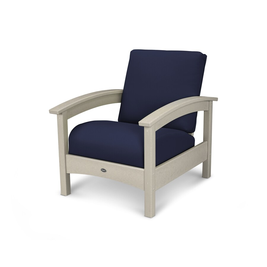 Trex Outdoor Furniture Rockport Sand Castle / Navy Plastic Patio Conversation Chair