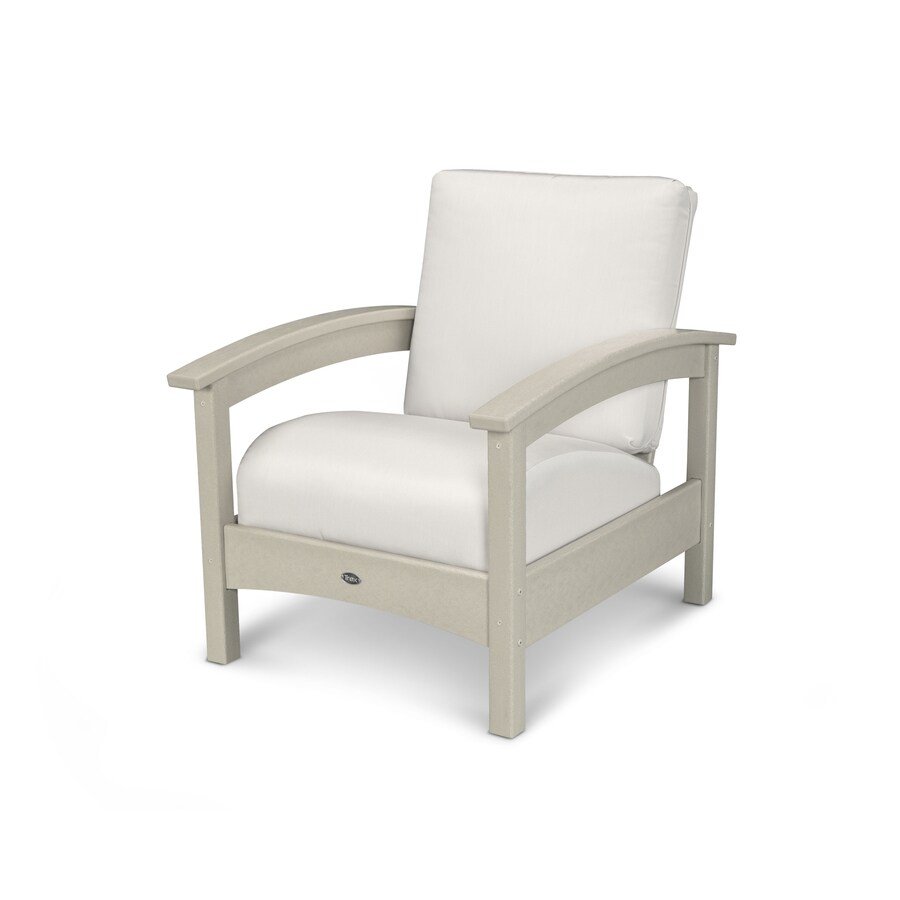 Trex Outdoor Furniture Rockport Sand Castle / Bird's Eye Plastic Patio Conversation Chair