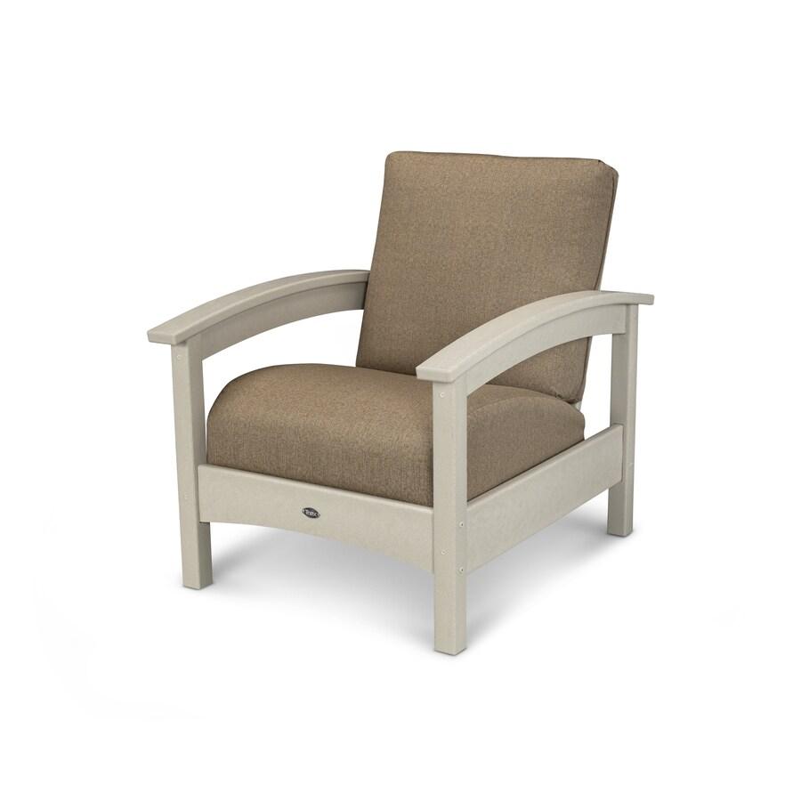 Trex Outdoor Furniture Rockport Sand Castle / Sesame Plastic Patio Conversation Chair