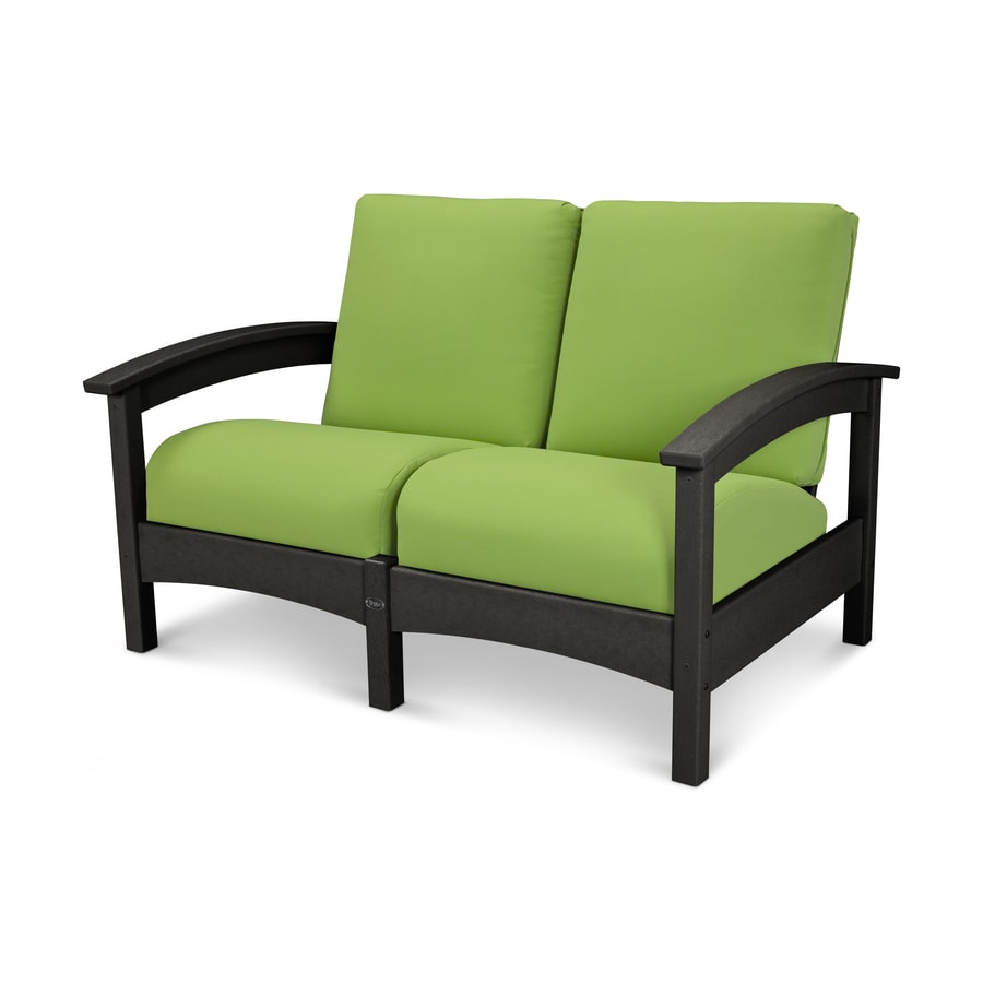 Trex Outdoor Furniture Rockport Solid Cushion Charcoal Black/Macaw Plastic Loveseat
