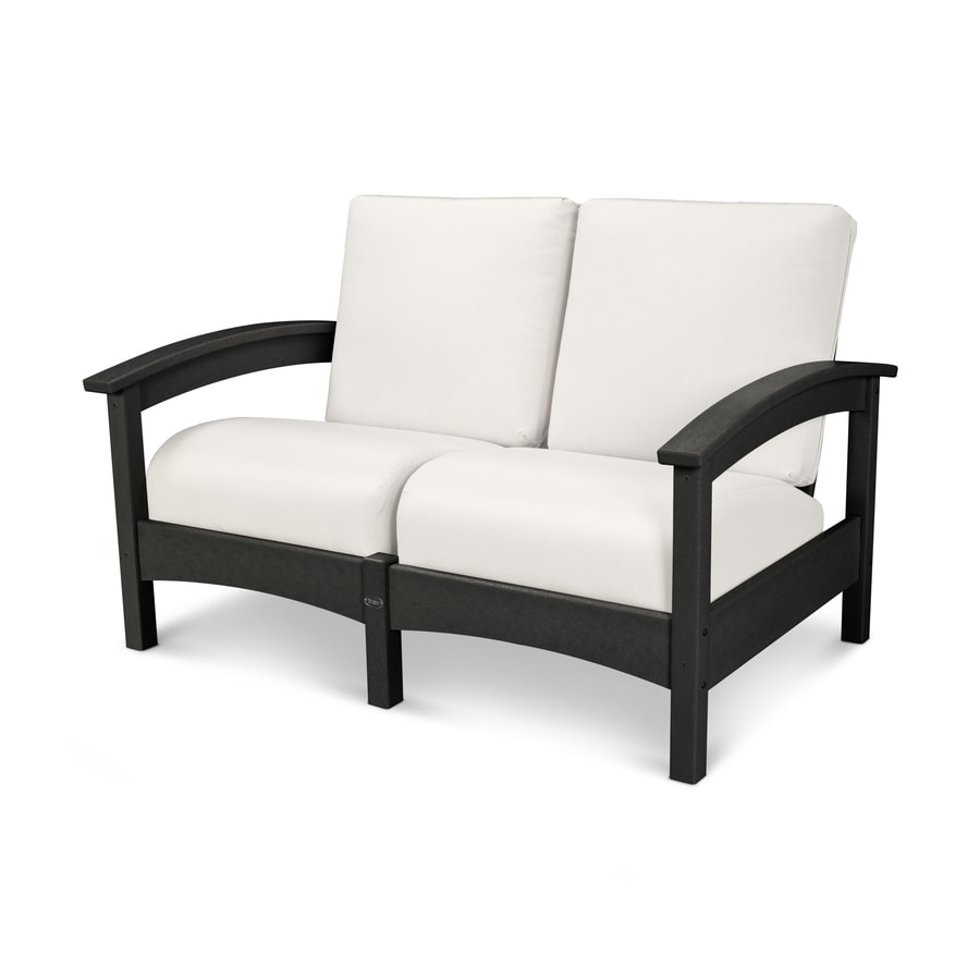 Trex Outdoor Furniture Rockport Solid Cushion Charcoal Black/Bird's Eye Loveseat