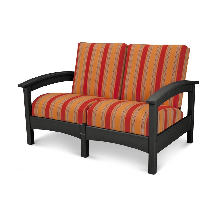 Trex Outdoor Furniture Rockport Stripe Cushion Charcoal Black/Bravada Salsa Plastic Loveseat