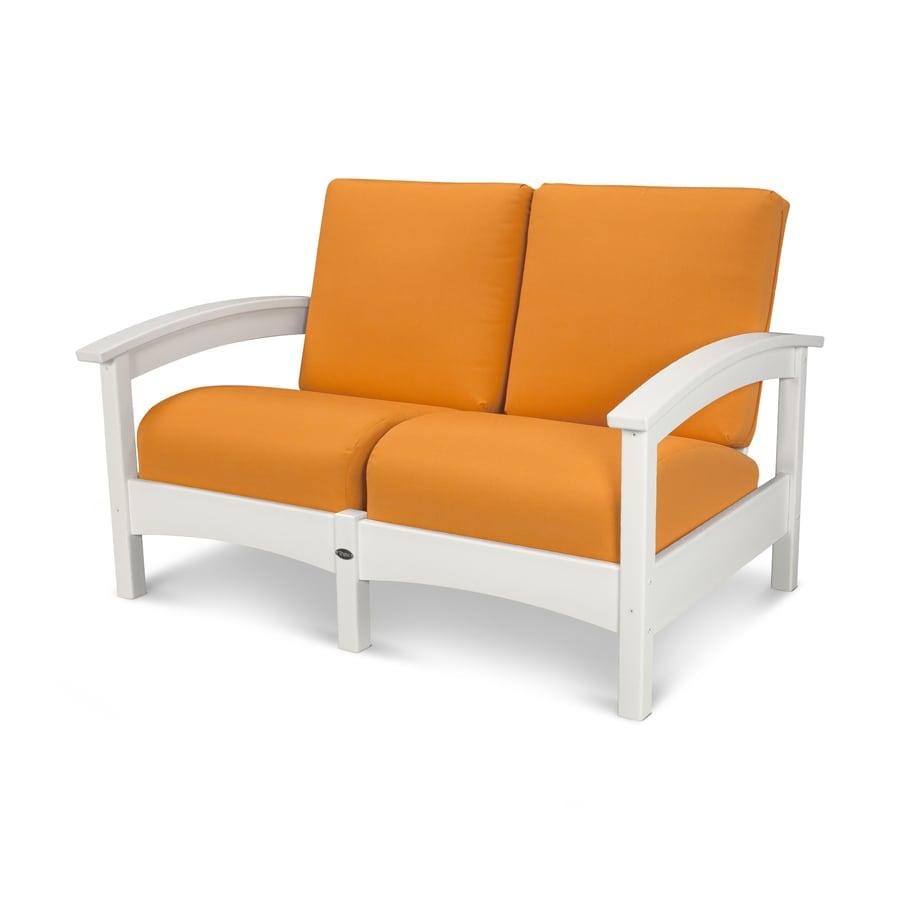Trex Outdoor Furniture Rockport Solid Cushion Classic White/Tangerine Plastic Loveseat