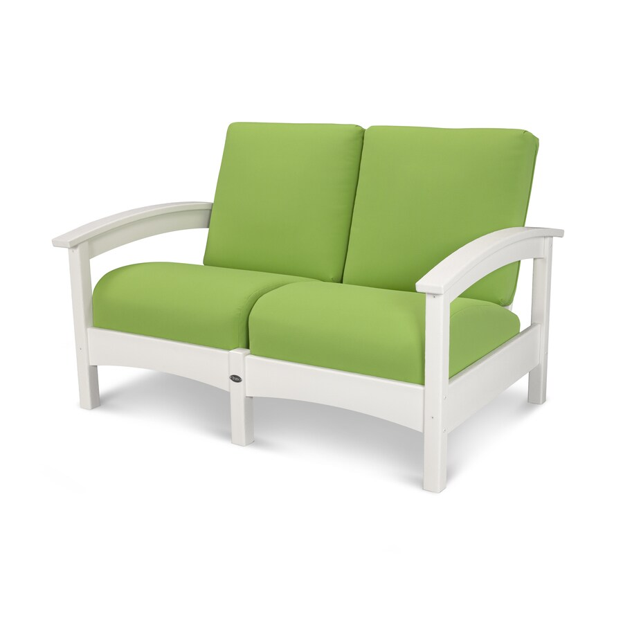 Trex Outdoor Furniture Rockport Solid Cushion Classic White/Macaw Plastic Loveseat