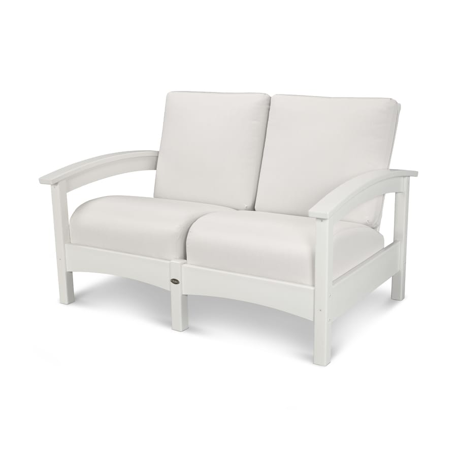 Trex Outdoor Furniture Rockport Solid Cushion Classic White/Bird's Eye Plastic Loveseat