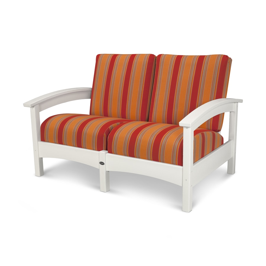 Trex Outdoor Furniture Rockport Solid Cushion Classic White/Bravada Salsa Plastic Loveseat