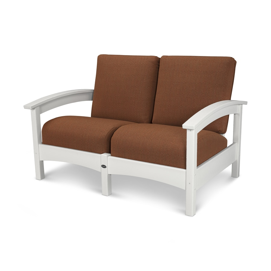 Trex Outdoor Furniture Rockport Solid Cushion Classic White/Chili Plastic Loveseat