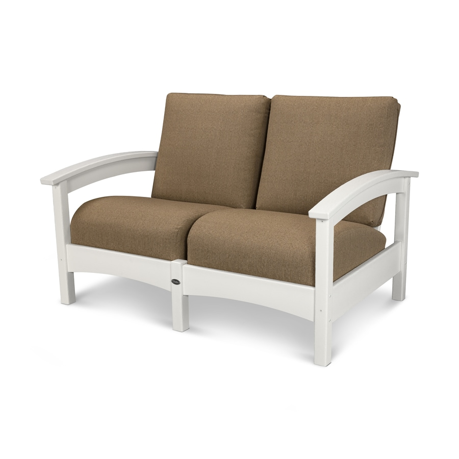 Trex Outdoor Furniture Rockport Solid Cushion Classic White/Sesame Plastic Loveseat