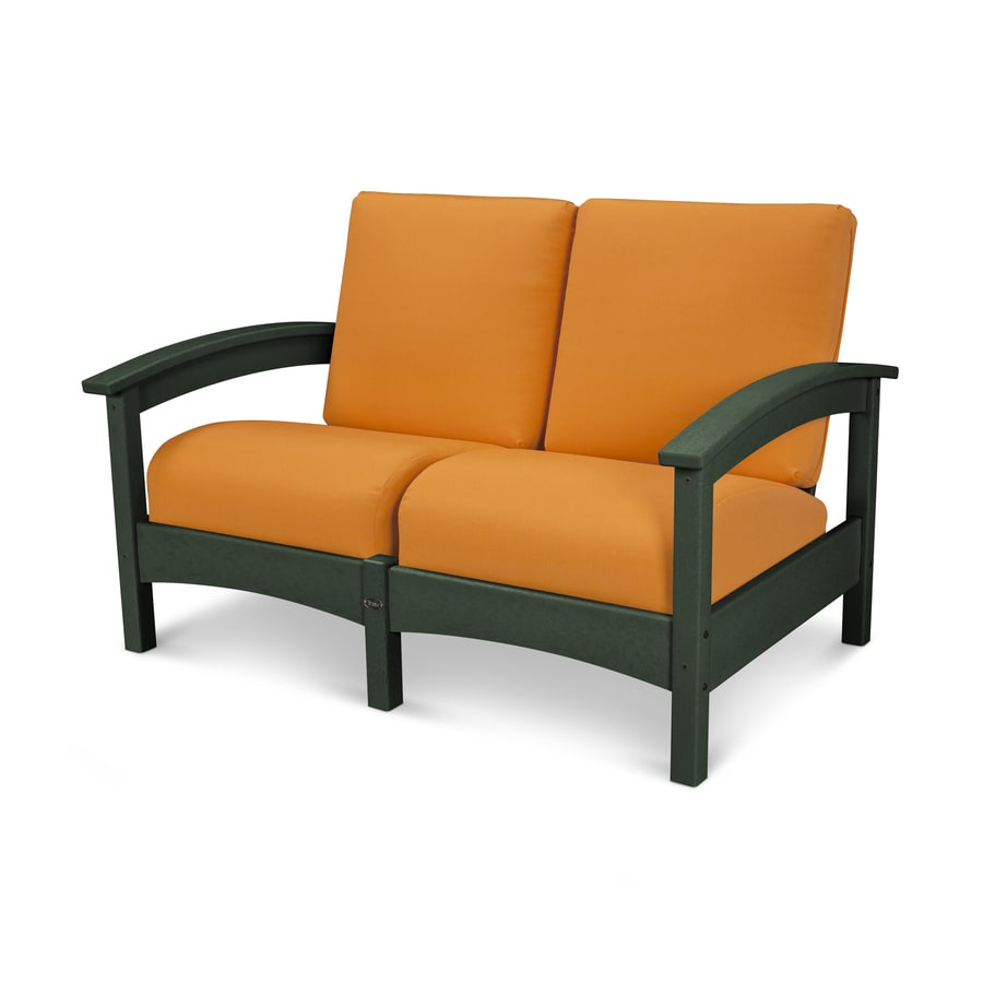 Trex Outdoor Furniture Rockport Solid Cushion Rainforest Canopy/Tangerine Plastic Loveseat