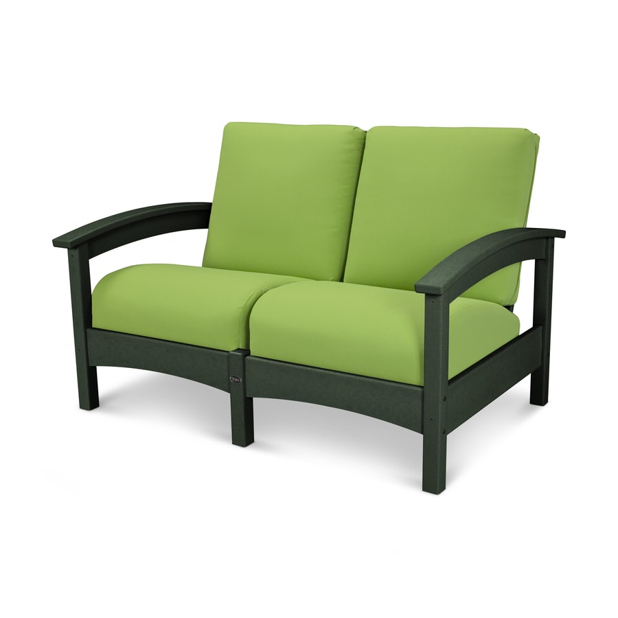 Trex Outdoor Furniture Rockport Solid Cushion Rainforest Canopy/Macaw Plastic Loveseat
