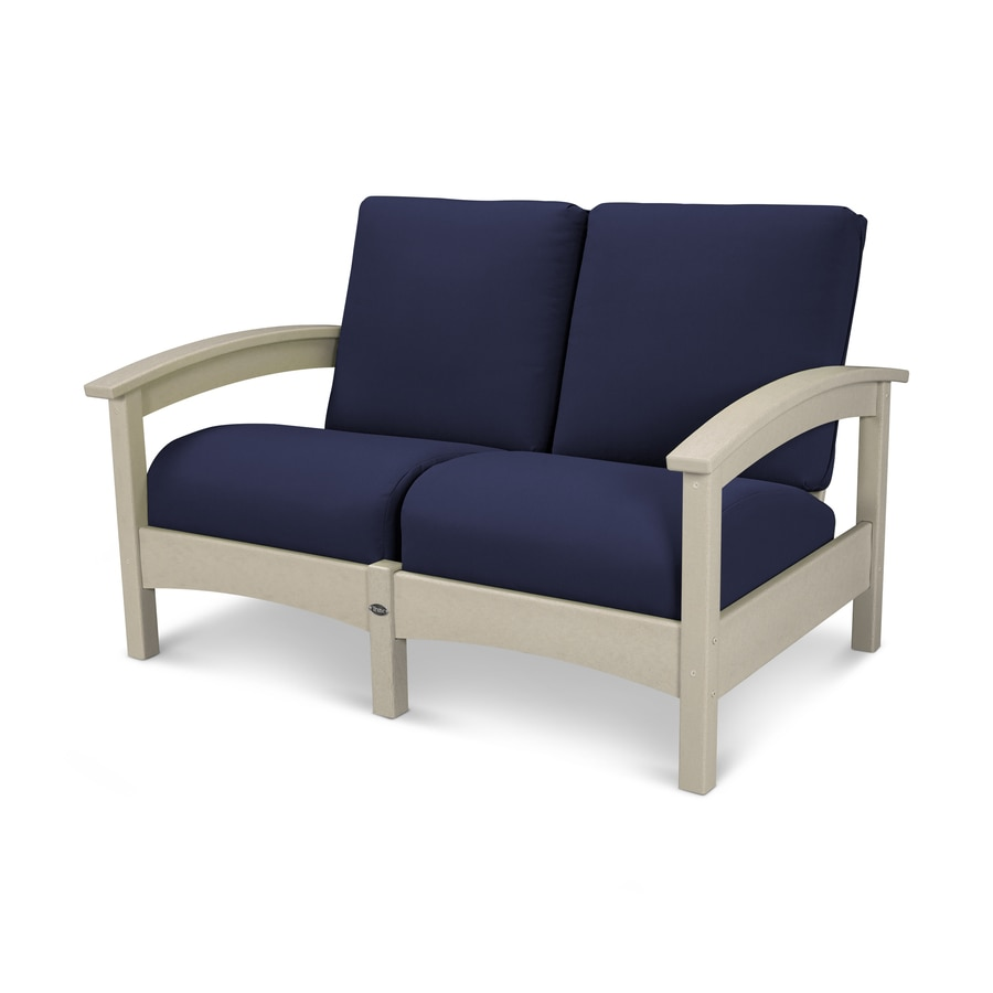 Trex Outdoor Furniture Rockport Solid Cushion Sand Castle/Navy Plastic Loveseat