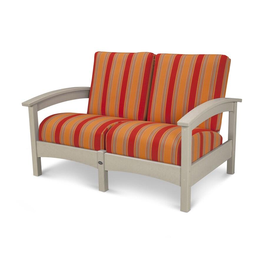 Trex Outdoor Furniture Rockport Solid Cushion Sand Castle/Bravada Salsa Plastic Loveseat