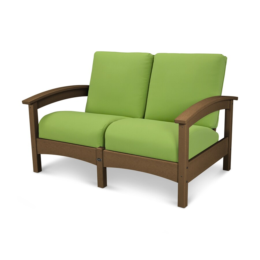 Trex Outdoor Furniture Rockport Solid Cushion Tree House/Macaw Plastic Loveseat