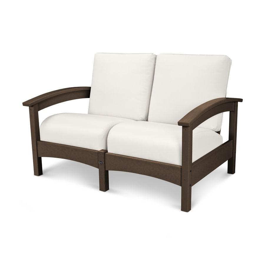 Trex Outdoor Furniture Rockport Solid Cushion Vintage Lantern/Bird's Eye Plastic Loveseat