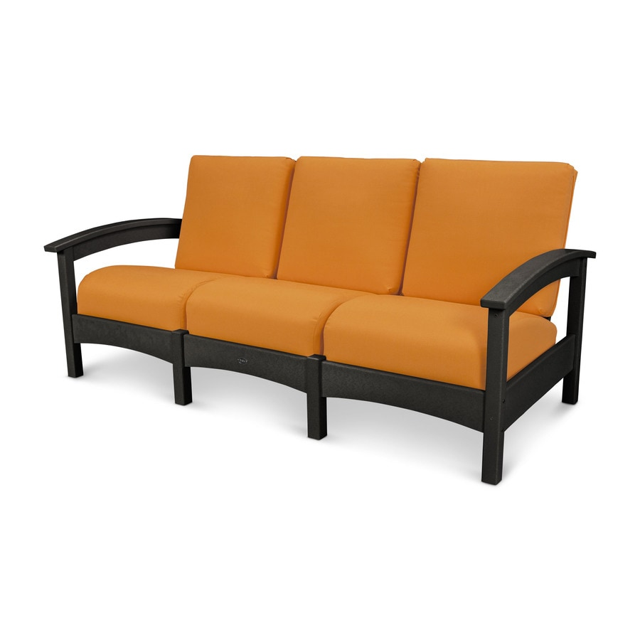 Trex Outdoor Furniture Rockport Solid Cushion Charcoal Black/Tangerine Plastic Sofa
