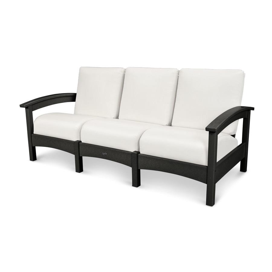 Trex Outdoor Furniture Rockport Solid Cushion Charcoal Black/Bird's Eye Plastic Sofa