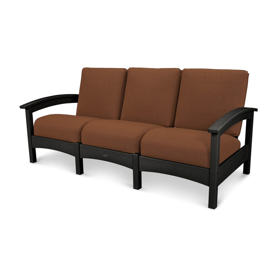 Trex Outdoor Furniture Rockport Solid Cushion Charcoal Black/Chili Plastic Sofa