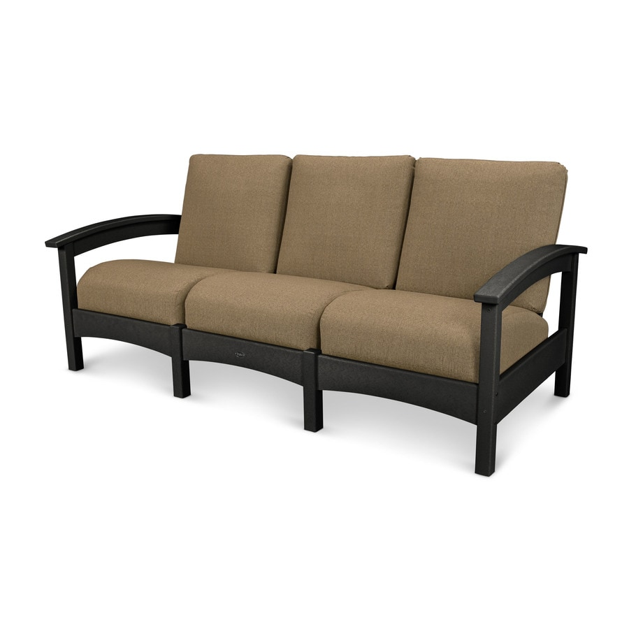 Trex Outdoor Furniture Rockport Solid Cushion(S) Included Charcoal Black / Sesame Plastic Sofa