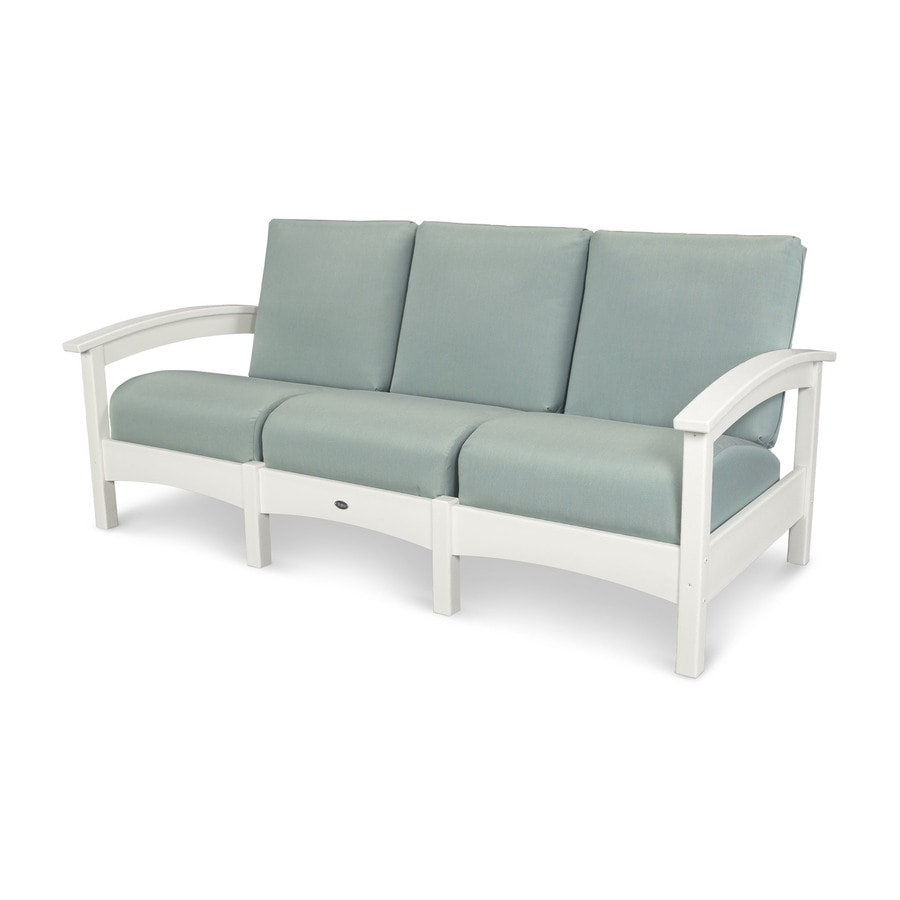Trex Outdoor Furniture Rockport Solid Cushion Classic White/Spa Plastic Sofa