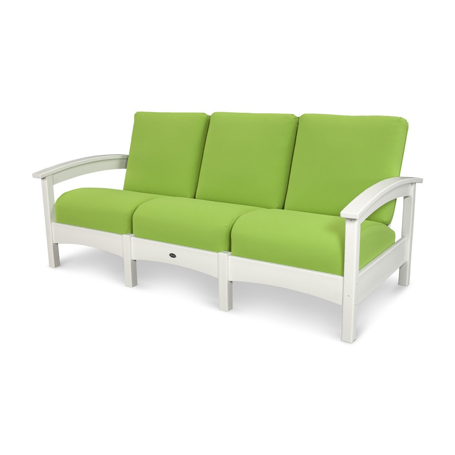 Trex Outdoor Furniture Rockport Solid Cushion Classic White/Macaw Plastic Sofa