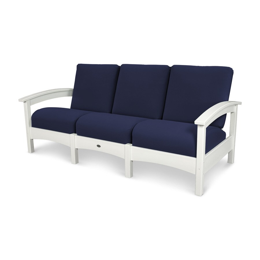 Trex Outdoor Furniture Rockport Solid Cushion Classic White/Navy Plastic Sofa