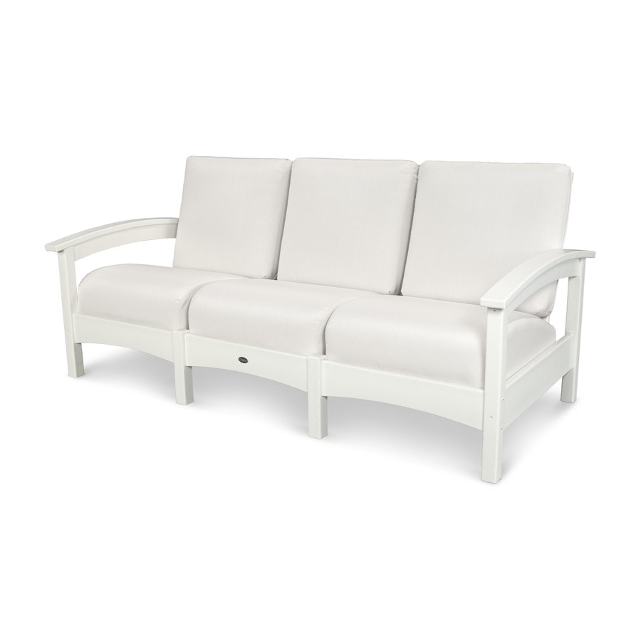 Trex Outdoor Furniture Rockport Solid Cushion Classic White/Bird's Eye Plastic Sofa
