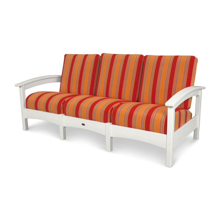 Trex Outdoor Furniture Rockport Solid Cushion Classic White/Bravada Salsa Plastic Sofa