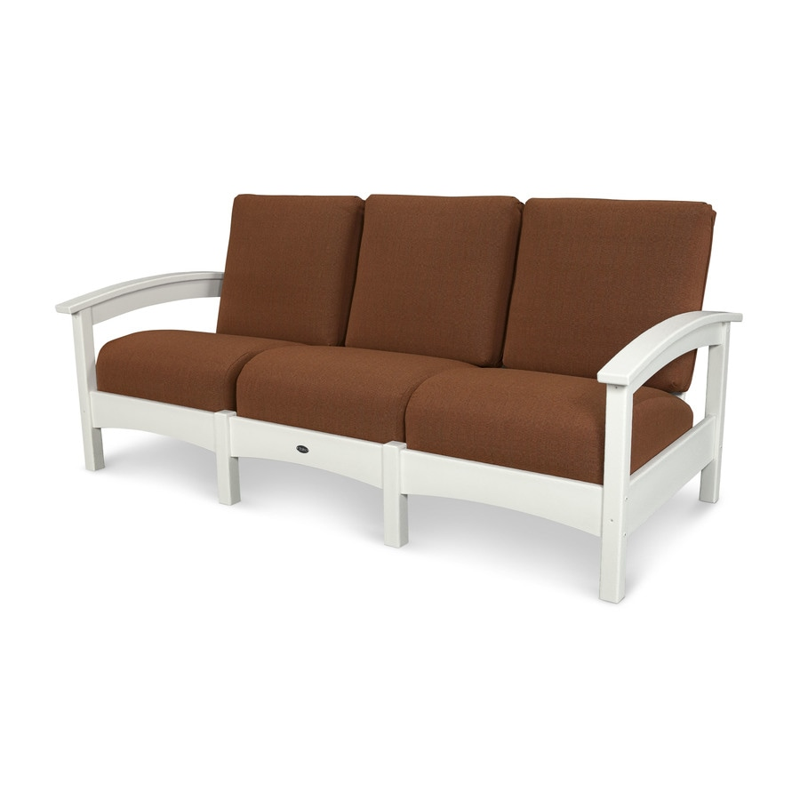Trex Outdoor Furniture Rockport Solid Cushion(S) Included Classic White / Chili Plastic Sofa