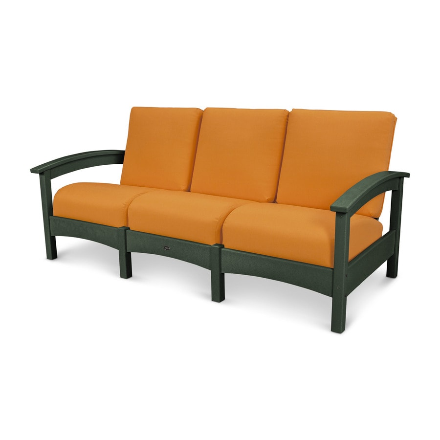 Trex Outdoor Furniture Rockport Solid Cushion Rainforest Canopy/Tangerine Plastic Sofa