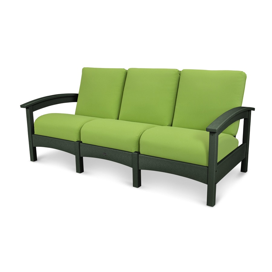 Trex Outdoor Furniture Rockport Solid Cushion Rainforest Canopy/Macaw Plastic Sofa