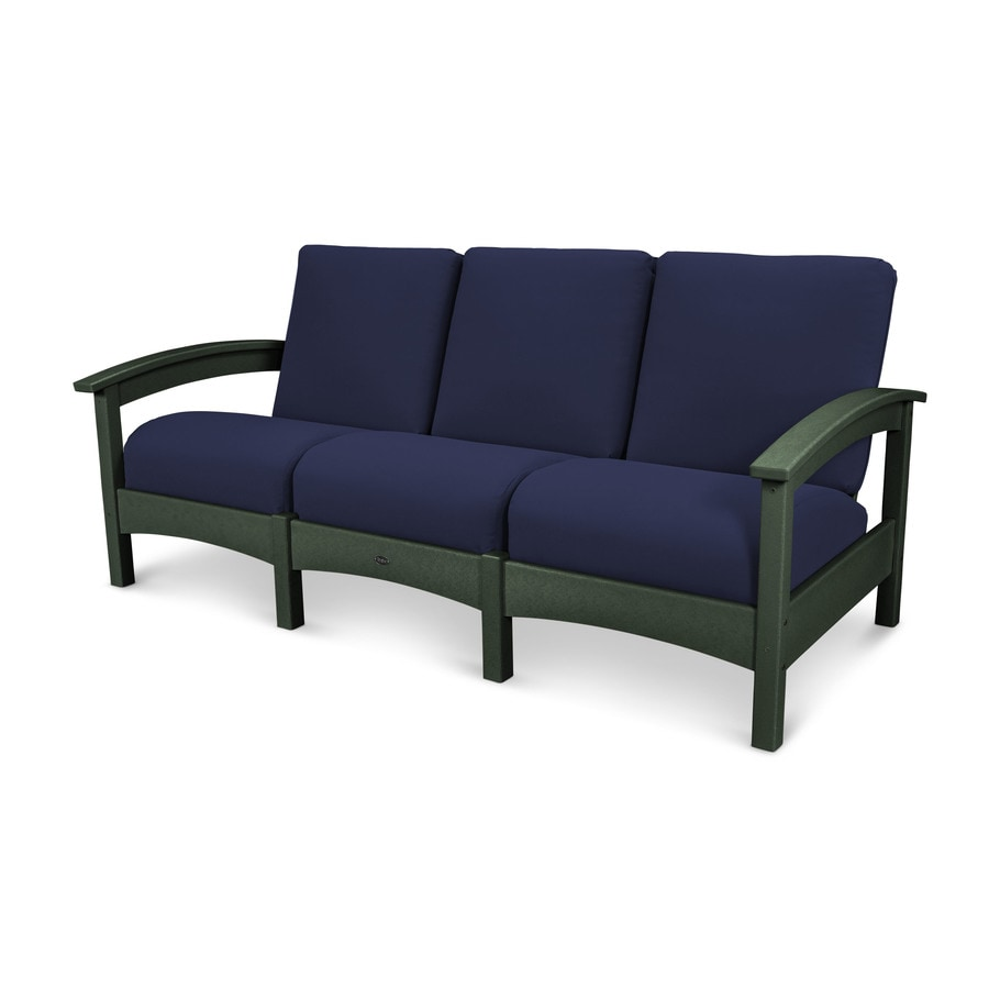 Trex Outdoor Furniture Rockport Solid Cushion Rainforest Canopy/Navy Plastic Sofa