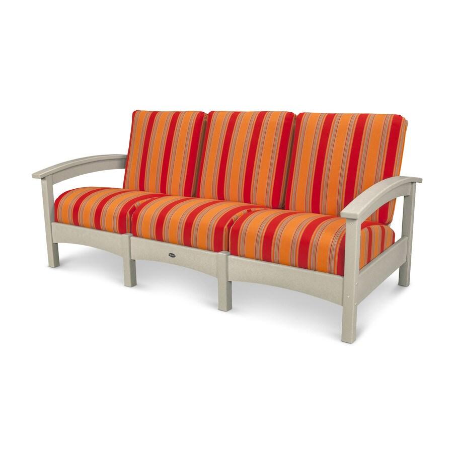 Trex Outdoor Furniture Rockport Solid Cushion Sand Castle/Bravada Salsa Plastic Sofa