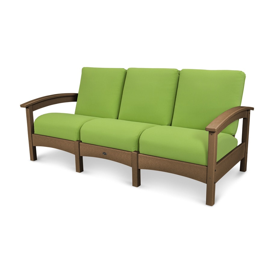 Trex Outdoor Furniture Rockport Solid Cushion Tree House/Macaw Plastic Sofa