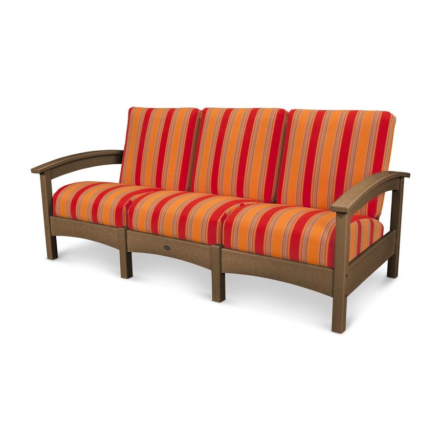 Trex Outdoor Furniture Rockport Solid Cushion Tree House/Bravada Salsa Plastic Sofa
