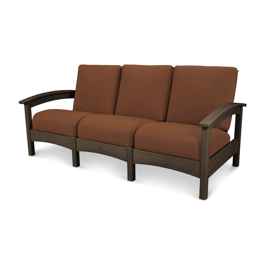 Trex Outdoor Furniture Rockport Solid Cushion Vintage Lantern/Chili Plastic Sofa