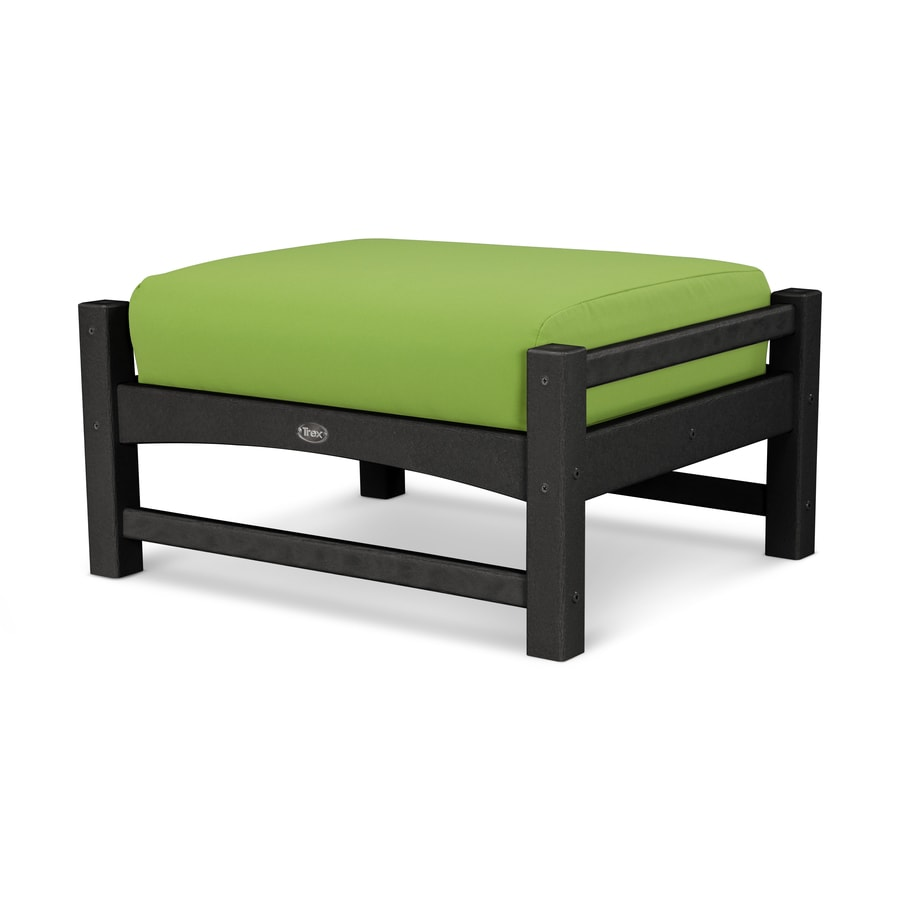 Trex Outdoor Furniture Rockport Charcoal Black/Macaw Plastic Ottoman