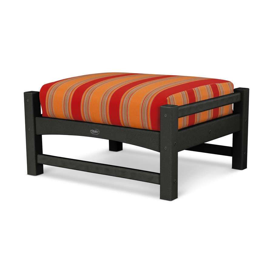Trex Outdoor Furniture Rockport Charcoal Black/Bravada Salsa Plastic Ottoman