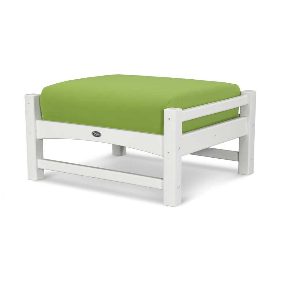 Trex Outdoor Furniture Rockport Classic White/Macaw Plastic Ottoman