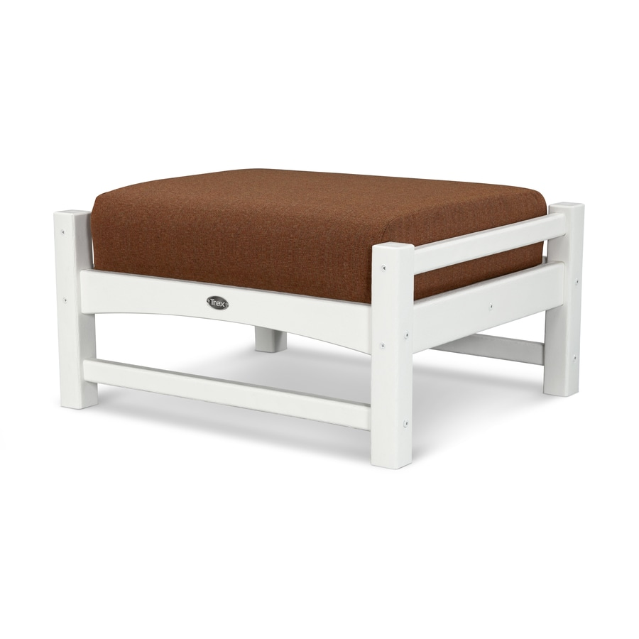 Trex Outdoor Furniture Rockport Classic White/Chili Plastic Ottoman